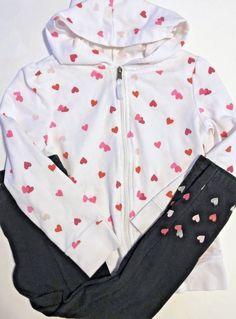 9f53f4f165266 Circo Long Sleeve Hooded Zip Up Sweatshirt wBlack Matching Pants Hearts Size  7-8
