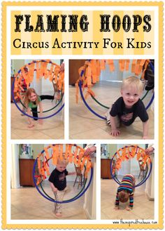 GROSS MOTOR ACTIVITIES FLAMING HOOPS is part of Kids Crafts Preschool Gross Motor - Here's a chance to do circus activities for kids, be daredevils with today's fun gross motor activities! Jump through the flaming hoops at the circus Circus Activities, Toddler Activities, Carnival Birthday, Birthday Party Games, Birthday Celebration, Birthday Ideas, Happy Birthday, Gross Motor Skills, Preschool Activities