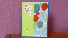 This Birthday card was made with paper and a Star punch from general craft stores.  I used Stampin Up stamp sets Balloon Celebration and Teeny Tiny Wishes. The negative cutout was made with my Cricut Explore Air.  For ink I used Stampin Up Pistachio Pudding, Lost Lagoon, Glorious Green and Tangelo Twist. I also used my Wink Of Luna brush pen in metalic green.