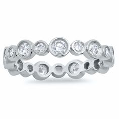 Alternating Bezel Set Scalloped Diamond Eternity Band - click to enlarge