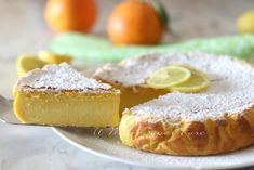 Torta al limone cremosa ricetta dolce senza farina Nutella, Plum Cake, Ricotta, Gelato, Cornbread, Camembert Cheese, Buffet, Cheesecake, Food And Drink