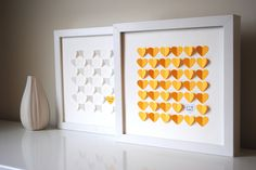 Wedding Guest Book Alternative, Personalized 3D Wedding Hearts - XS guest book (includes frame, instruction card and one pen). $74.00, via Etsy.