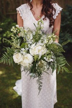 Oversized White & Greenery Bouquet - Daughters of Simone Wedding Dress   Crab & Lobster Wedding York   Anna Hardy Photography