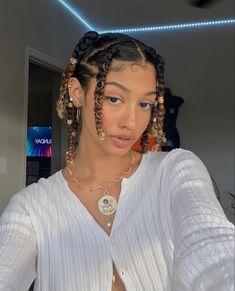 Cute Curly Hairstyles, Black Girl Braided Hairstyles, Baddie Hairstyles, Girl Hairstyles, Curly Hair Styles, Natural Hair Styles, Braids On Curly Hair, Girls Natural Hairstyles, Protective Hairstyles