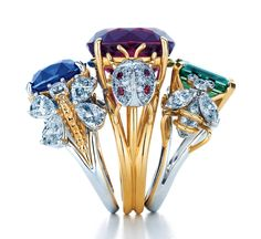 Schlumberger diamond and precious gem rings from Tiffany.