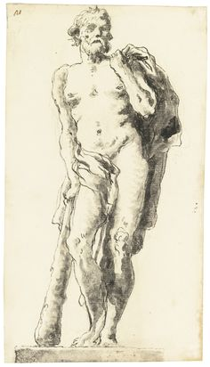 GIOVANNI DOMENICO TIEPOLO (VENICE 1727 - 1804). HERCULES,  26.6 X 14.7 cm. Medium:  Pen and black ink and two shades of gray wash over black chalk