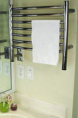 """Amba Jeeves H Curved Hardwired Mounted Towel Warmer / Towel Dryer - 20.5""""w x 18""""h--sleek look.  would love for my bathroom!"""