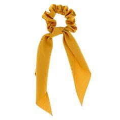 Claire's Small Hair Scrunchie Scarf - Mustard Tie Dye Hair, Hair Ties, Hair Tie Holder, Ponytail Holders, Head Scarf Styles, Yellow Jewelry, Elastic Hair Bands, Pearl Hair, Scarf Hairstyles