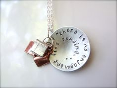 Jane Austen Reading Quote Necklace Metal by HandfulOfArrows. For Melissa