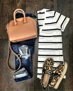 Best of the Week IG: MrsCasual Gestreiftes T-Shirt, Jeans und Espadrille-Flats mit Leopardenmuster The post Beste der Woche appeared first on Frisuren Tips - Casual Outfit Mode Outfits, Fall Outfits, Casual Outfits, Fashion Outfits, Womens Fashion, Fashion Trends, Summer Outfits, Fashion 2017, Mode Style
