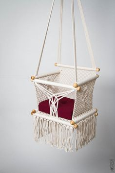 Baby Swing Chair 14 in Macrame. 1 Year Warranty. by HangAHammock
