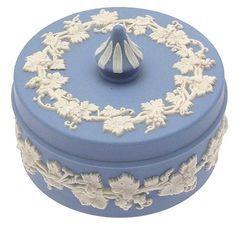 Wedgewood blue Jasperware round container.
