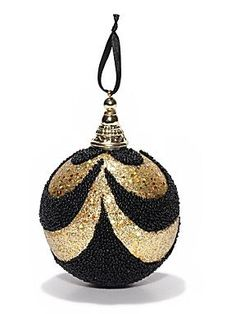 Biba   Black and gold swirl sequin bauble