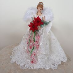 Wedding Dress Tree Top Angel by Betzanne Christmas Tree Fairy, Ghost Of Christmas Past, Angel Christmas Tree Topper, Christmas Feeling, Christmas Angels, Christmas Holidays, Christmas Wreaths, Christmas Crafts, Christmas Ornaments