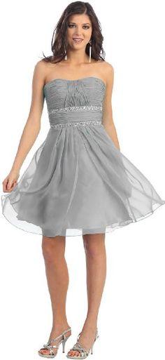 Strapless Chiffon Prom Short Dress #998 (20, Silver):Amazon:Clothing