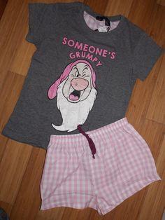 Primark Ladies DISNEY GRUMPY Pyjamas T Shirt & Shorts | eBay