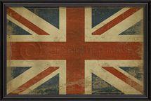 "British Flag Union Jack Framed Print 17"" x 25"""