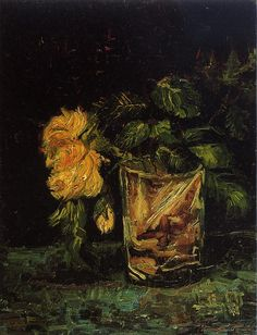 Vincent van Gogh Glass with Roses painting for sale - Vincent van Gogh Glass with Roses is handmade art reproduction; You can buy Vincent van Gogh Glass with Roses painting on canvas or frame. Vincent Van Gogh, Monet, Van Gogh Museum, Art Van, Rembrandt, Flores Van Gogh, Van Gogh Flowers, Van Gogh Arte, Van Gogh Paintings