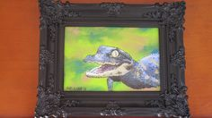 Baby Gator--Alligator Painting--Wildlife Painting--Alligator Art--5X7. Alligators are reptiles that have fiercely protective mothers. The younge make short, almost throaty sounds to communicate with their parent. I incorporated stippling and reverse glass painting into this 5 X 7 inch piece. This means instead of true outlines, small dots are used. Also, the paint is directly applied to the glass itself.