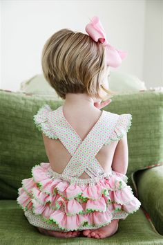 Pastel Pink & Green - Cute little summer girl with ruffles and bow!