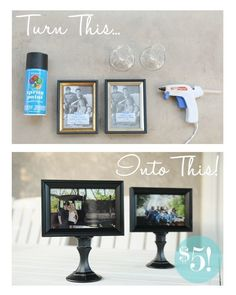 Photo holders - Made from Dollar Store Candle Holders and Picture Frames - just paint and glue tog.