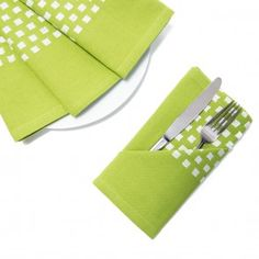 20 in. Green Barcode-Striped Cotton Napkins