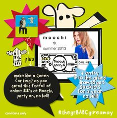 my oh my, who needs some magnificent moochi moola? win this and the $100 Moochi online shopping spree is all yours, you'll be mad to miss this one, };8  head on over to our Facebook page, like the post & comment #moochikisskiss below before 1pm tomorrow and you're in with a chance to be scoffin' the good stuff };8 #brandmance *terms and conditions apply