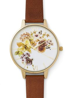 Time of the Season Watch. No matter the weather, you enjoy punching up your pretty with this charming Olivia Burton watch! #tan #modcloth