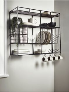 Industrial Style Iron Wall Unit - The perfect industrially inspired storage unit for any kitchen, our large wall rack has space to st - Kitchen Wall Storage, Kitchen Shelves, Diy Kitchen, Kitchen Decor, Storage Shelves, Metal Shelves, Kitchen Cabinets, Kitchen Wall Units, Plate Storage