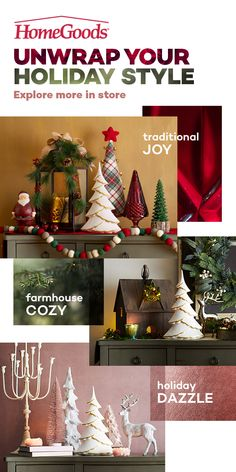 Find everything you need to personalize your holiday decorations at HomeGoods! Stop in today to find what inspires you at a price you'll love. Shabby Chic Christmas, Country Christmas, All Things Christmas, Winter Christmas, Christmas Home, Christmas Ideas, Holiday Decorations, Holiday Crafts, Christmas Inspiration