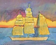 watercolour clipper ships