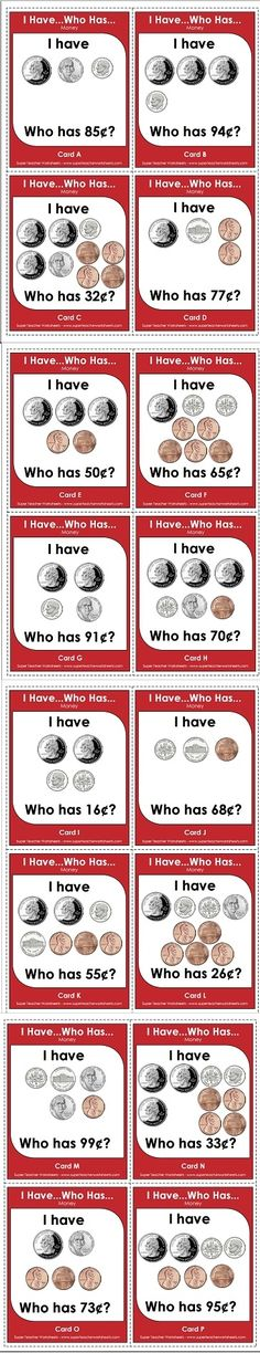 "A fun ""I Have/Who Has"" game to practice counting money!"