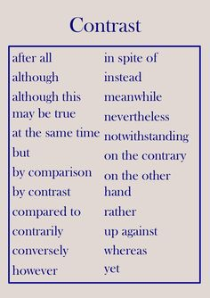 compare contrast transition phrases essays