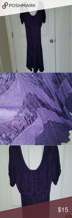 Casual Purple Dress Lace detail, dark purple,  knee length, never worn. Almost looks like it's a medieval dress. my choice Dresses
