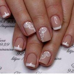 Amazing white and nude manicure Fall Nail Art Designs, Diy Nail Designs, Diy Nails, Nail Manicure, Pedicure, Nail Polish, Lace Nail Art, White Lace Nails, Lace Art