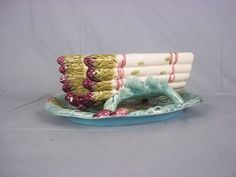 Victorian French Luneville Majolica Asparagus Cradle & Stand