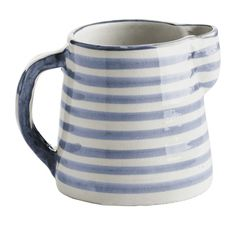Džbánek Blue stripe Morocco | Nordic Day Hand Painted Ceramics, Ceramic Painting, Blue Stripes, Mugs, Tableware, Milk Jugs, Bella Rose, Pottery Ideas, Moroccan