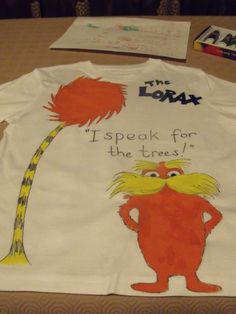 Dr seuss day one fish two fish red fish blue fish halloween lorax tee shirt for earth day solutioingenieria Choice Image