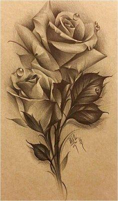 Rose Drawing Tattoo, Tattoo Design Drawings, Tattoo Sketches, Realistic Rose Tattoo, Bild Tattoos, Body Art Tattoos, Sleeve Tattoos, Rose Flower Tattoos, Flower Tattoo Designs
