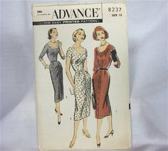 Vintage1950s Advance Dress Sewing Pattern by OldFashionedNotions