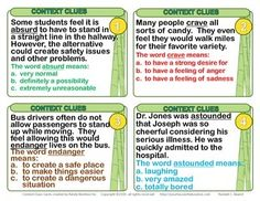"""Free """"Context Clues"""" Task Cards for 4th,5th,6th grades."""