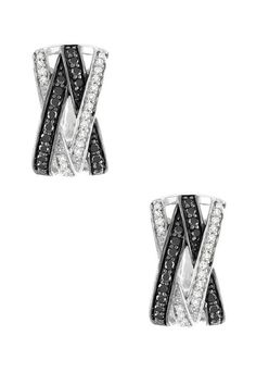 Two-Tone Black & White Diamond Crisscross Multi-Row Huggie Earrings
