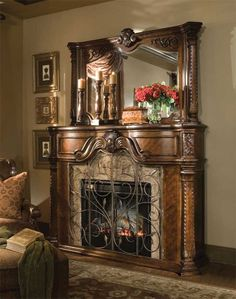 """Winchseter Fireplace Wall Complete (W67½"""" D19½"""" H89¾"""")Fireplace Only (W67½"""" D19½"""" H52¼"""")This magnificent fireplace carries the same Winchester design elements, with the added beveled mirror, for an extra splash of character. We were particularly drawn to this fireplace because of it's romantic appeal. Crafted of solid wood, with electric faux fire insert makes this a work of art."""