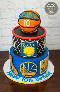 This is a three-tier fondant covered cake decorated with a bunch of edible images! My client wanted a large cake for her son's birthday that was themed after his favorite basketball tea… Cupcake Birthday Cake, Cupcake Cakes, Cupcakes, Ball Birthday Parties, Boy Birthday, Birthday Ideas, Golden State Warriors, Stephen Curry Birthday, Basketball Birthday