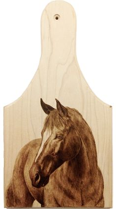 Morning Mare on Maple Cheeseboard - Pyrography by Alexandra Glueckler