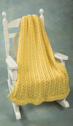 #freepattern highlight — Lace Baby Throw knit in Plymouth Yarn Company Encore Chunky. This will knit up in a flash and is an economical project too with just 3 skeins of Encore Chunky, $17.97 for the whole blanket.