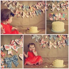 1 year old photos! 1st birthday cake smash!! Oh, the bows!!! :)
