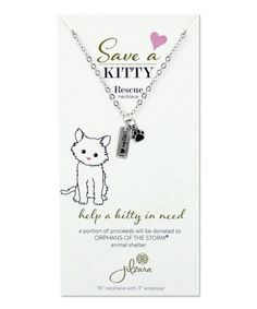 This Silvertone Cat Paw Animal Rescue Charm Necklace is perfect by Jilzara, $9 !!  #zulilyfinds