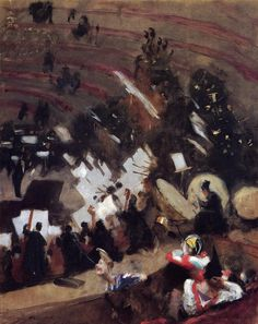 Rehearsal of the Pas de Loup Orchestra at the Cirque d'Hiver -John Singer Sargent -- American painter 1878 Private collection on load to The Art Institute of Chicago Oil on canvas x cm x 28 in. John Singer Sargent, Sargent Art, American Realism, American Artists, Renoir, Monet, Canvas Art Prints, Oil On Canvas, Beaux Arts Paris