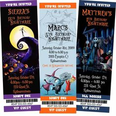 Halloween Invitation 12 The Nightmare Before Christmas Birthday Party Invite NBC | eBay